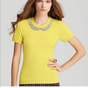 Kate Spade Yellow Tippy Crystal Sweater Wool Small